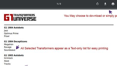 Photo of G1 Universe Transformers Collection Checklist